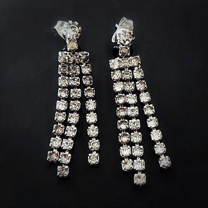 ✨Beautiful VTG Custom Long Rhinestones Earrings